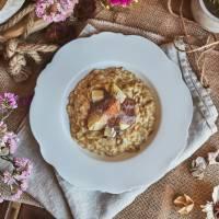 Risotto de gorgonzola, portobellos y brevas